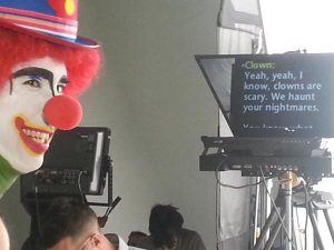An evil clown reading from our teleprompter