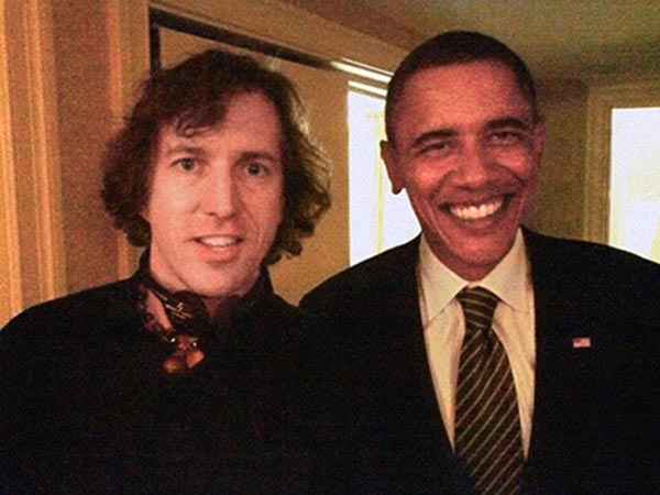 Barack Obama and Neil Tanner backstage