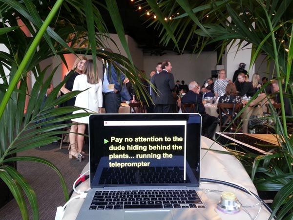Teleprompter operator and laptop hiding in plain sight in San Francisco for good cause.