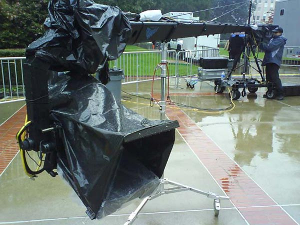 Needing to wrap the teleprompter monitor and jib controls in clear plastic to make them both waterproof and readable.